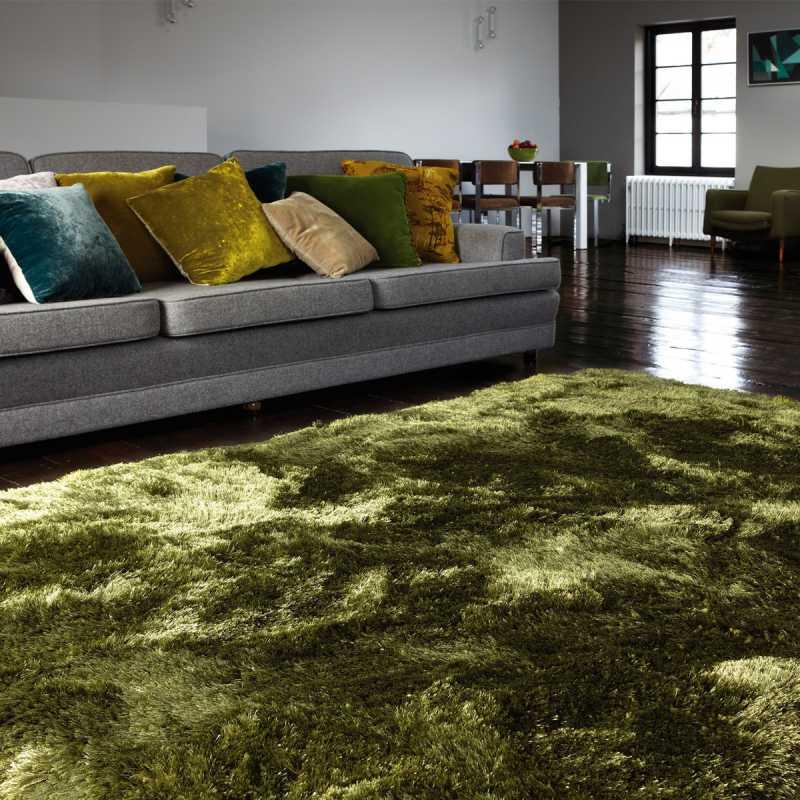tapis vert fonce tres moelleux tisse a la main