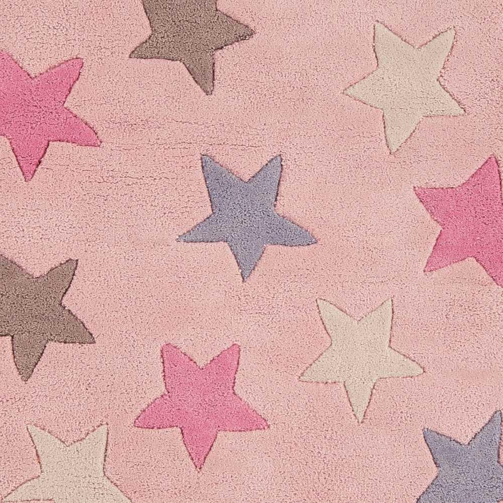 tapis moderne de chambre etoile rose en coton