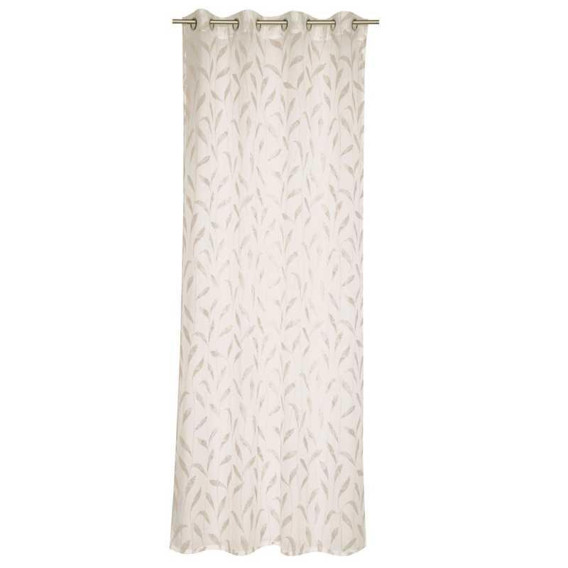 rideau moderne blanc et beige a oeillets semi transparent esprit home