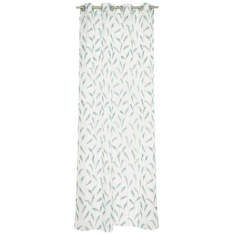 rideau contemporain blanc et bleu a oeillets esprit home motif floral