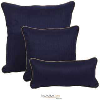 coussin design bleu fonce carre ou rectangulaire 3 tailles disponibles