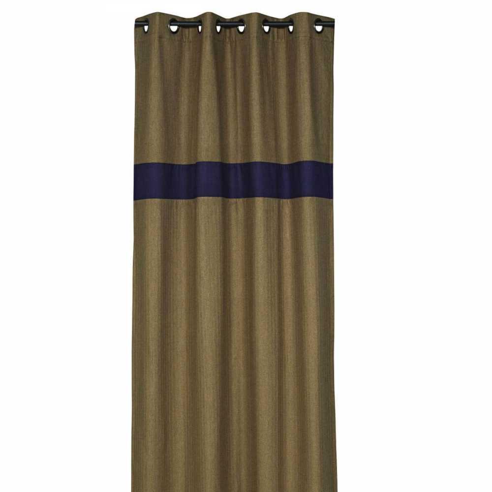 rideau design marron et bleu fonce 140 x 270 cm