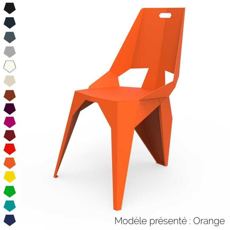 chaise a trois pieds au dossier haut design en metal interieur et exterieur