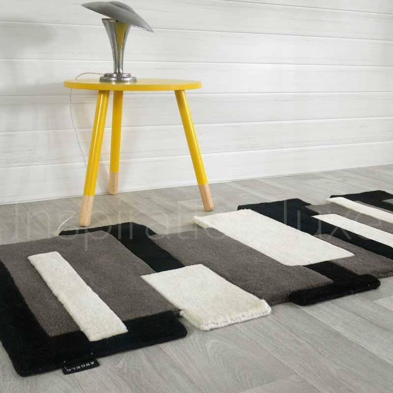 tapis noir et blanc prestige de couloir design pebbles par angelo