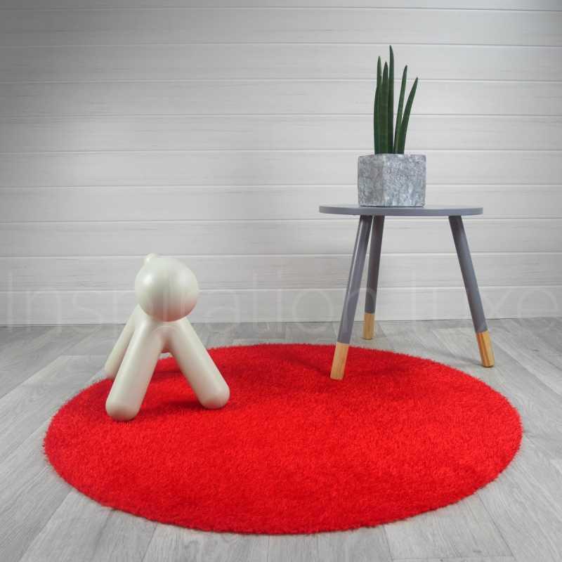 tapis rond lavable en machine rouge ideal pour salle de bain de diametre 100 cm
