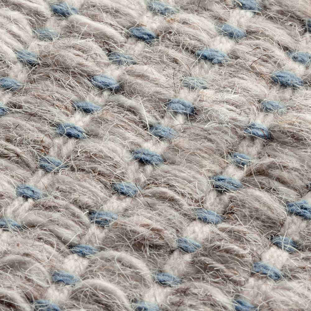 tapis fin haut de gamme en laine beige et bleu tisse main par ligne pure