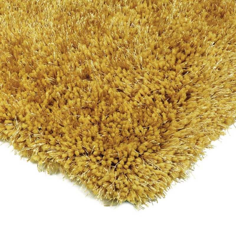 tapis shaggy a longues meches jaune moelleux