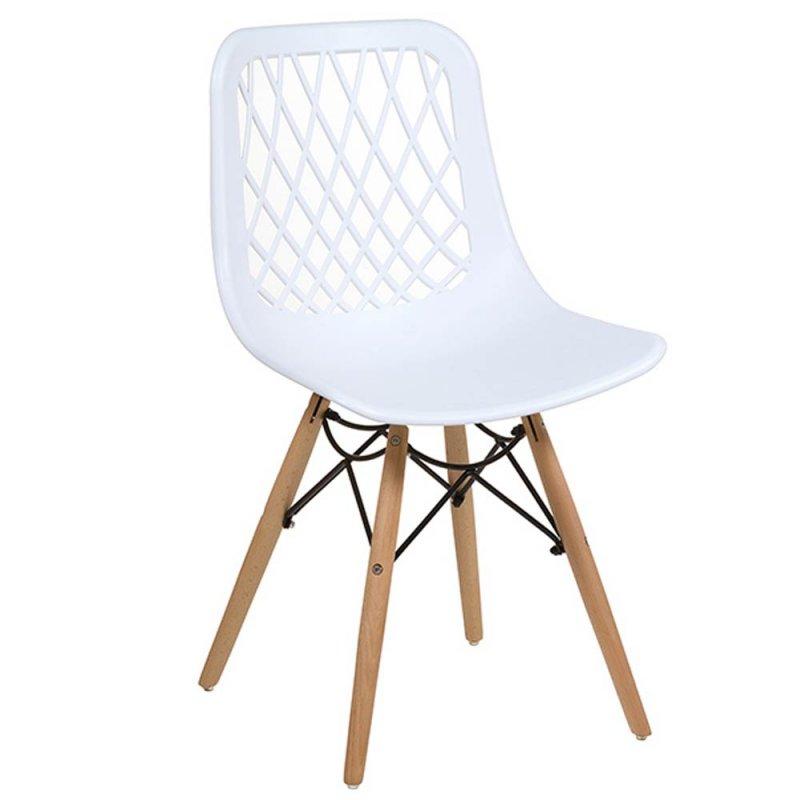 lot de 4 chaises blanches design nid en polypropylene avec pieds en bois