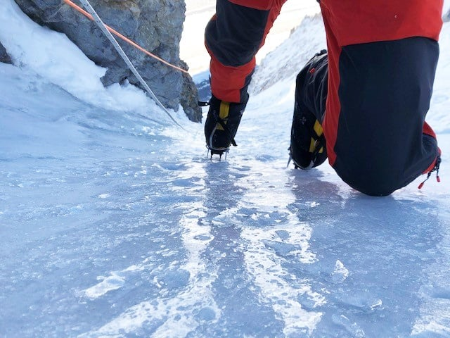 Climbing the steep ice from camp 2, just on the front points of my crampons