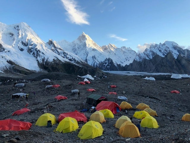 Masherbrum (K1) with our camp in the foreground - clear or red tarps are the Porters bivvies
