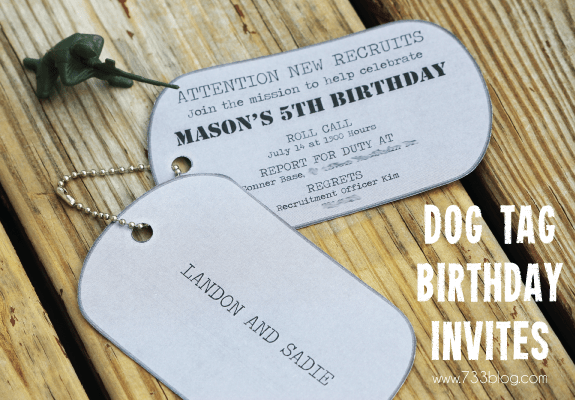army dog tag birthday invitation