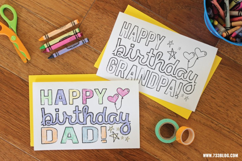 Printable Birthday Cards For Grandpa To Color Cardss