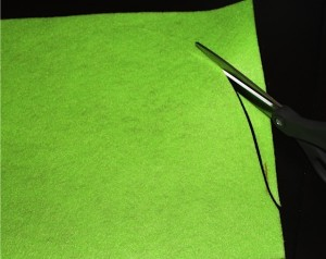Cutting Lime Green Felt