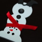 Snowman Magnet with Red Velvet Scarf