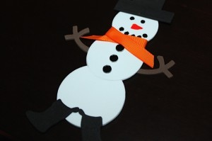 Finished snowman magnet with boots, arms, scarf, and hat