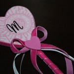 pink wood heart wand with black letter sticker for initital