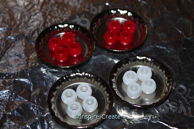 use chrome bottle caps to melt pony beads