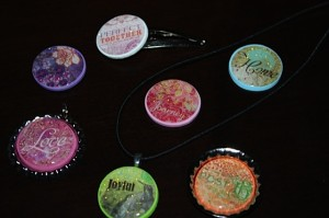 sparkle magnets, necklaces, and bottle caps