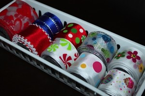 all wire ribbon in small white bin