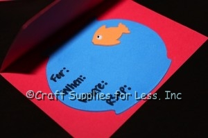 Inside of party invitation for elmo party with goldfish