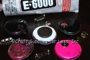 Attach jewelry findings to the back of gems with E6000