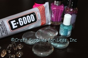 clear glass gems, nail polish, e6000, and jewelry findings