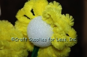 Chenille Stem loops in rows