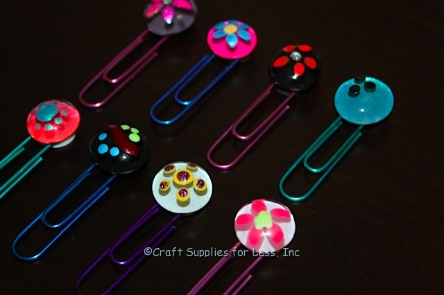 Glass gem bookmarks with paperclips