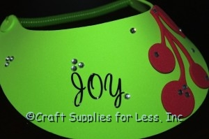 Lime Green Visor with Black Joy Stickers and Cherries
