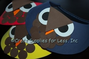 Red, Yellow, and Navy Blue Owl Visors
