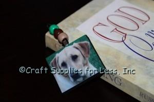 Photo bookmark inside book