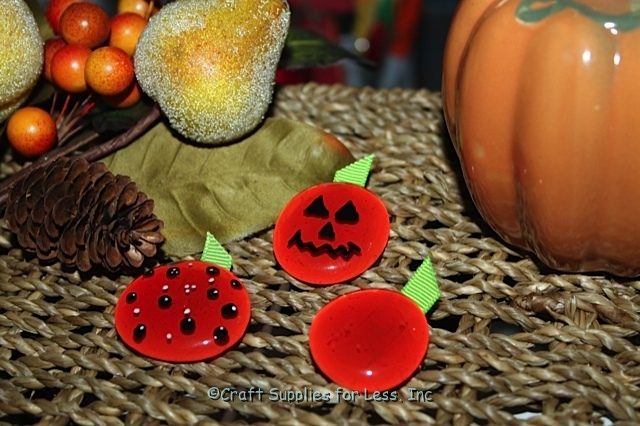 Fall Jewelry Pumpkin Pins made with Glass Gems & Ribbon