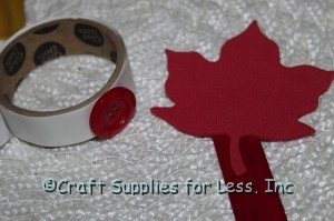 embellish foam leaf with craft button