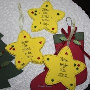 star ornaments with stocking and tree
