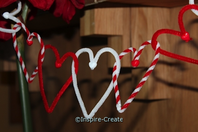 Hanging Heart Garland with chenille stems and pony beads