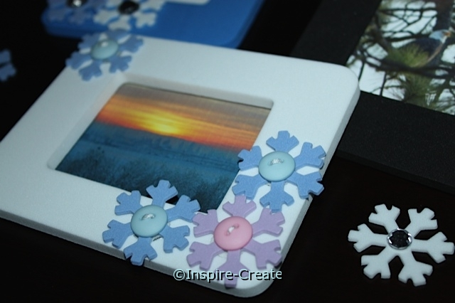 DIY:  Snowflake Frames with Buttons.