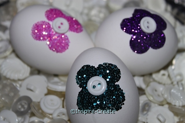 Flower Easter Eggs with Glitter