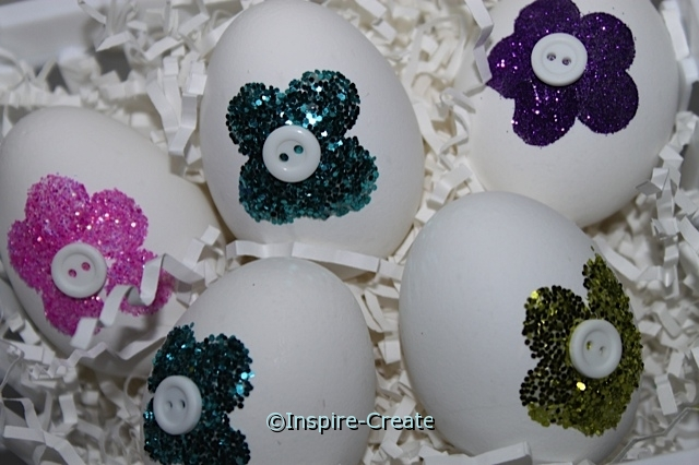 Glitter Flower Easter Eggs