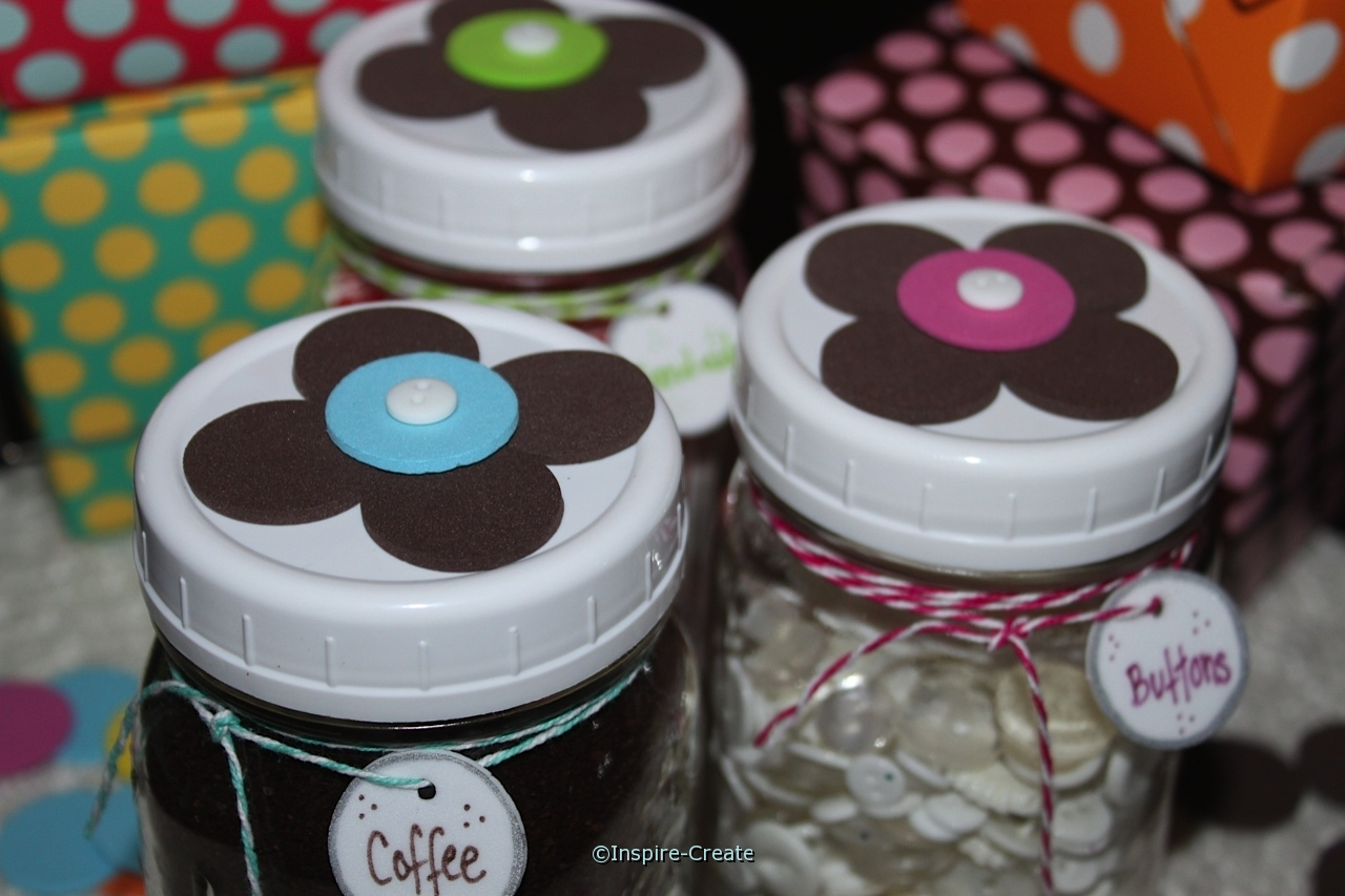 Mason Jar Gifts with Flower Lids & Bakers Twine