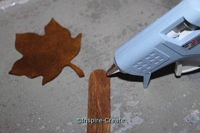 Attach Maple Leaf to Wood Craft Sticks