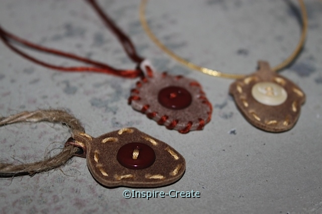 Acorn Necklaces made with Craft Foam and Buttons