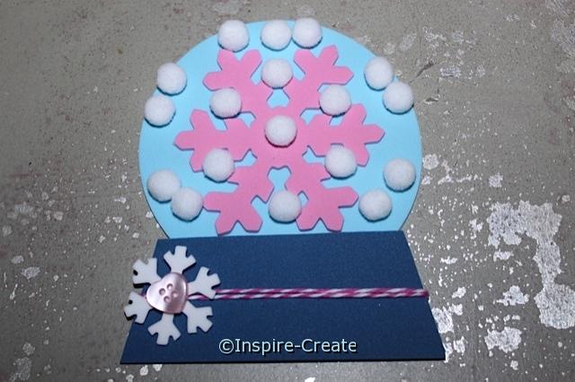 DIY: Snow Globe made with craft foam and pom poms