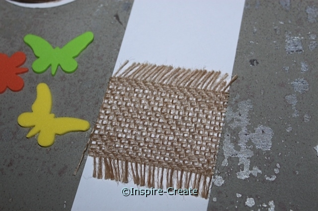 Butterfly Bookmark...Add burlap to white insert w/ Glue Dots