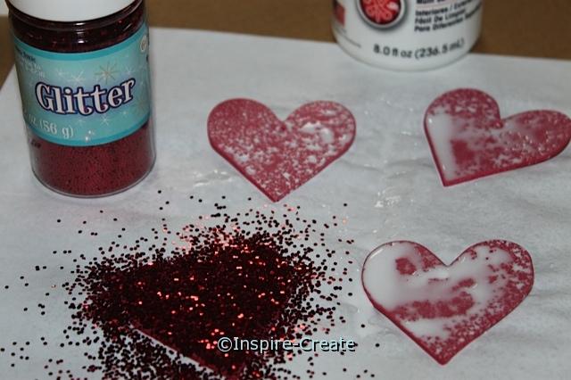 Add Glitter to Craft Foam Hearts