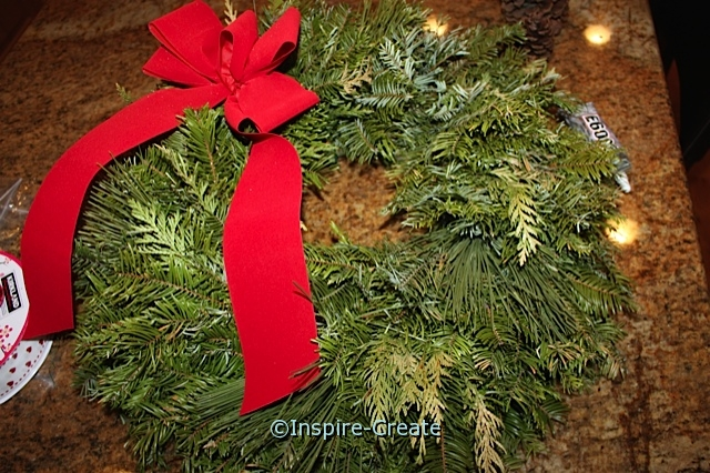 Remove the Pine Cones from Christmas Wreath and add hearts for Valentines!