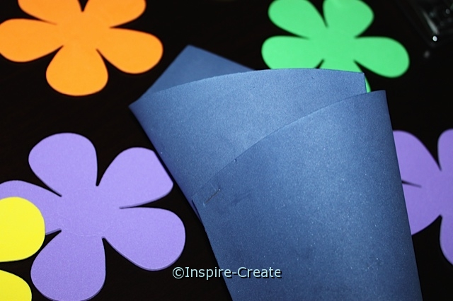 Flower Vase made with a Craft Foam Sheet. Stapled together...