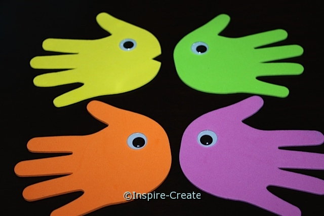 Fish Stick Puppets made from Craft Foam Hands and Wiggle Eyes
