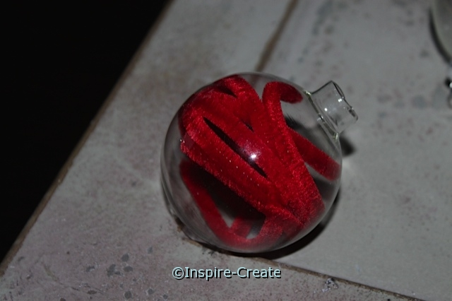 Glass Ornament Bulbs...Add chenille stems to the inside. Easy Kids Ornament Craft.