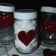 Easy Glitter Hearts for Mason Jars...Craft Foam & Glitter