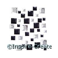 Black & Crystal Square Stick on Rhinestones*